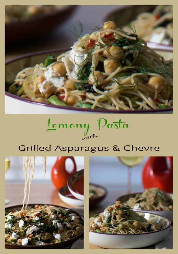Lemony Pasta With Grilled Asparagus and Chevre combined with leeks and chick peas in a lemony white wine sauce loaded with fresh dill... a perfect spring pasta for #meatlessmonday!