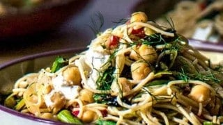 Lemony Pasta With Grilled Asparagus and Chevre