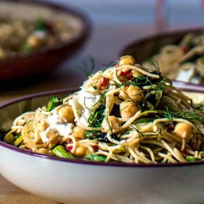 Lemony Pasta With Asparagus and Chevre