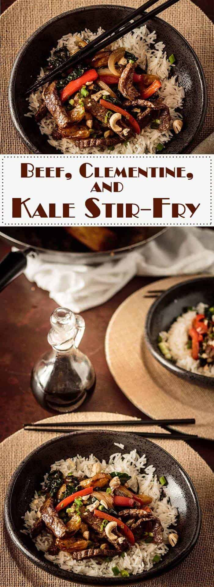 Tender beef, sweet clementines, greens, red pepper, sweet onion, and cashews bathe in a flavorful sauce of sesame, ginger, garlic, rice wine and mirin, tamari, and sriracha in this simple Beef, Clementine, and Tuscan Kale Stir-Fry. #stirfry #beefstirfry #kalestirfry #savoryclementinesdishes #Asianstirfry  #beefandkale