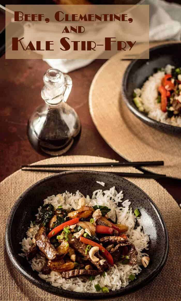 Short Pin - Tender beef, sweet clementines, greens, red pepper, sweet onion, and cashews bathe in a flavorful sauce of sesame, ginger, garlic, rice wine and mirin, tamari, and sriracha in this simple Beef, Clementine, and Tuscan Kale Stir-Fry. #stirfry #beefstirfry #kalestirfry #savoryclementinesdishes #Asianstirfry #beefandkale