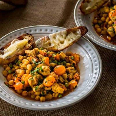 Spanish Style Chicken and Chick Pea Stew With Grilled Bread