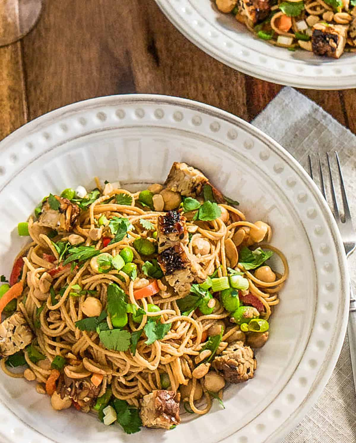 Spicy Sesame Noodles With Grilled Tempeh and Edamame