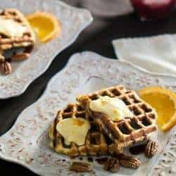 Bacon and Pecan Waffles With Cinnamon-Red Chile Syrup and Orange Mascarpone