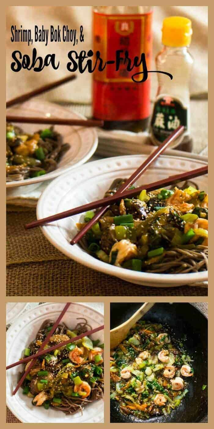 Shrimp, Baby Bok Choy, and Soba Stir-Fry - a healthy Asian fusion dish ready in less than 30 minutes!