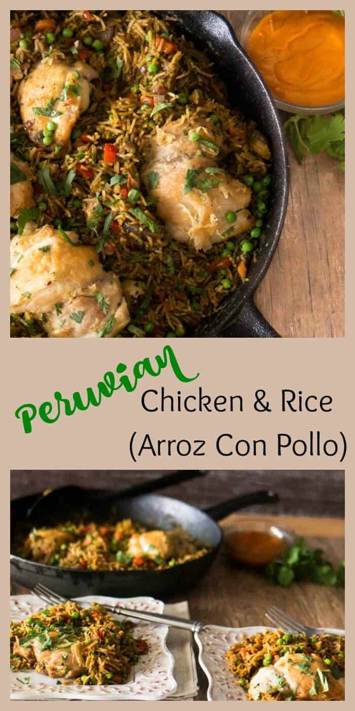 Peruvian Chicken and Rice (Arroz Con Pollo) - Peruvian flavors (aji amarillo and cilantro) in a healthy, flavor-packed one pot dish!