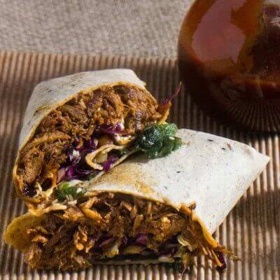 Korean-Style Instant Pot Pulled Pork Wraps With Asian Slaw and Kimchi