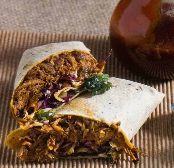 Korean-Style Instant Pot Pulled Pork Wraps With Asian Slaw and Kimchi with Sauce
