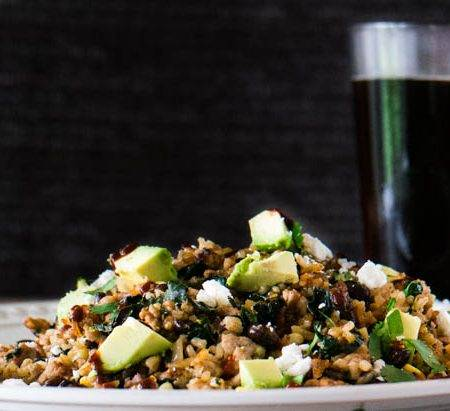 Mexican Fried Rice With Chaya and Ground Pork