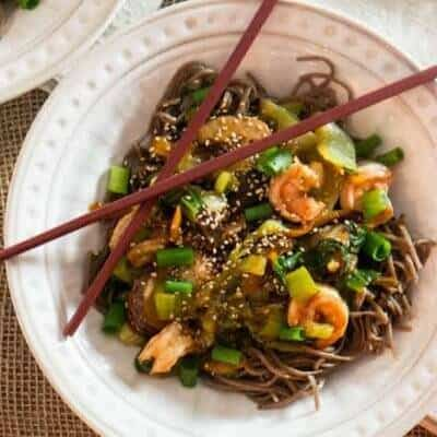 Shrimp, Baby Bok Choy, and Soba Stir-Fry