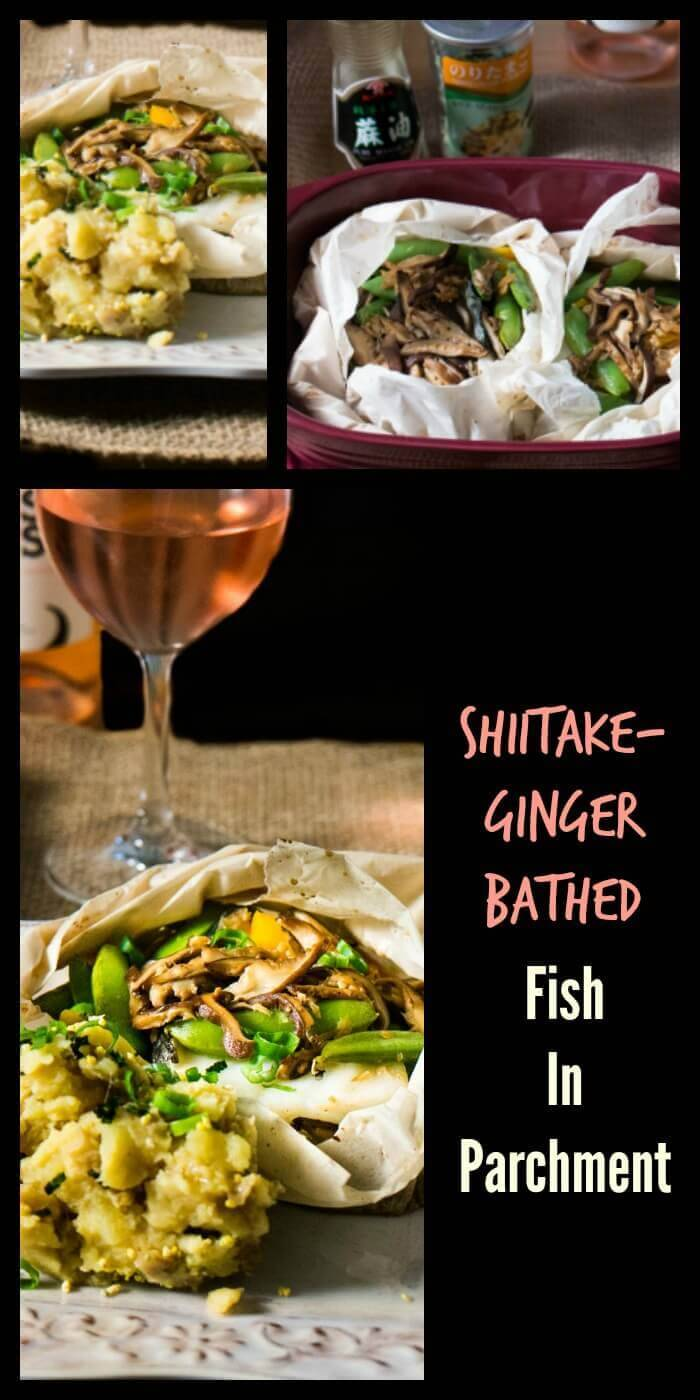 Shiitake-Ginger Bathed Fish In Parchment - Fish and veggies cook quickly in a lovely shiitake, ginger, miso, rice wine sauce... On you table in 30 minutes!