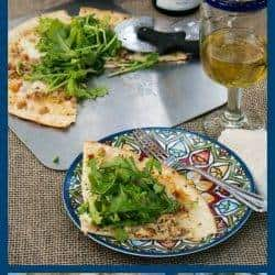 Easy Clam and Chorizo Pizza With Arugula Salad