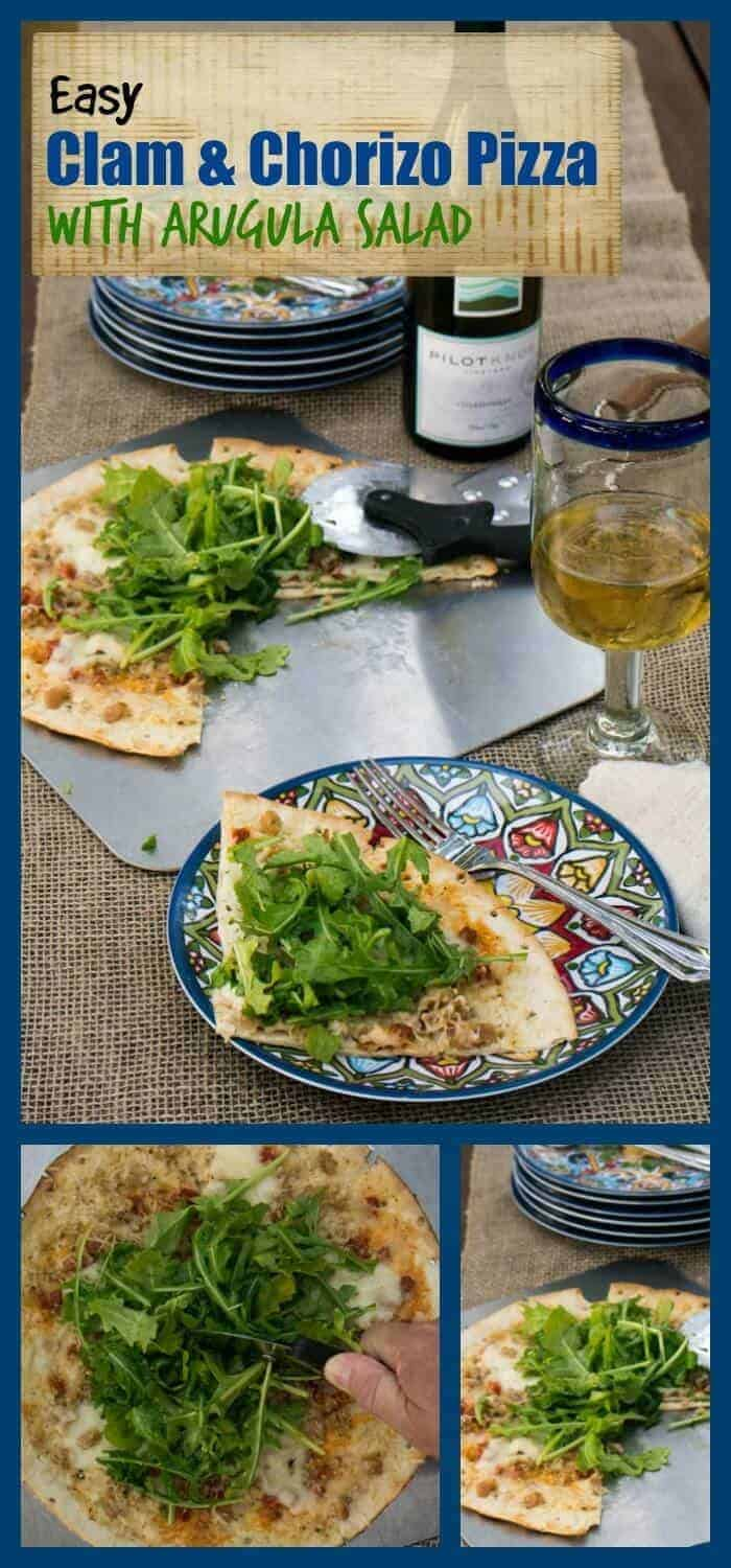 Easy Clam and Chorizo Pizza With Arugula Salad - not a traditional pizza, but oh-so-delicious!