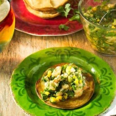 Mango, Avocado, and Gulf Shrimp Ceviche Tostadas