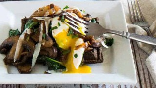 Savory Buckwheat Waffle With Spinach, Crimini, and Caramelized Onion