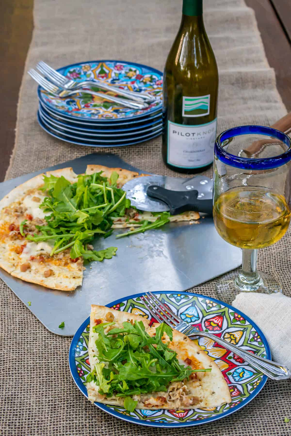 Easy Clam & Chorizo Pizza With Arugula Salad