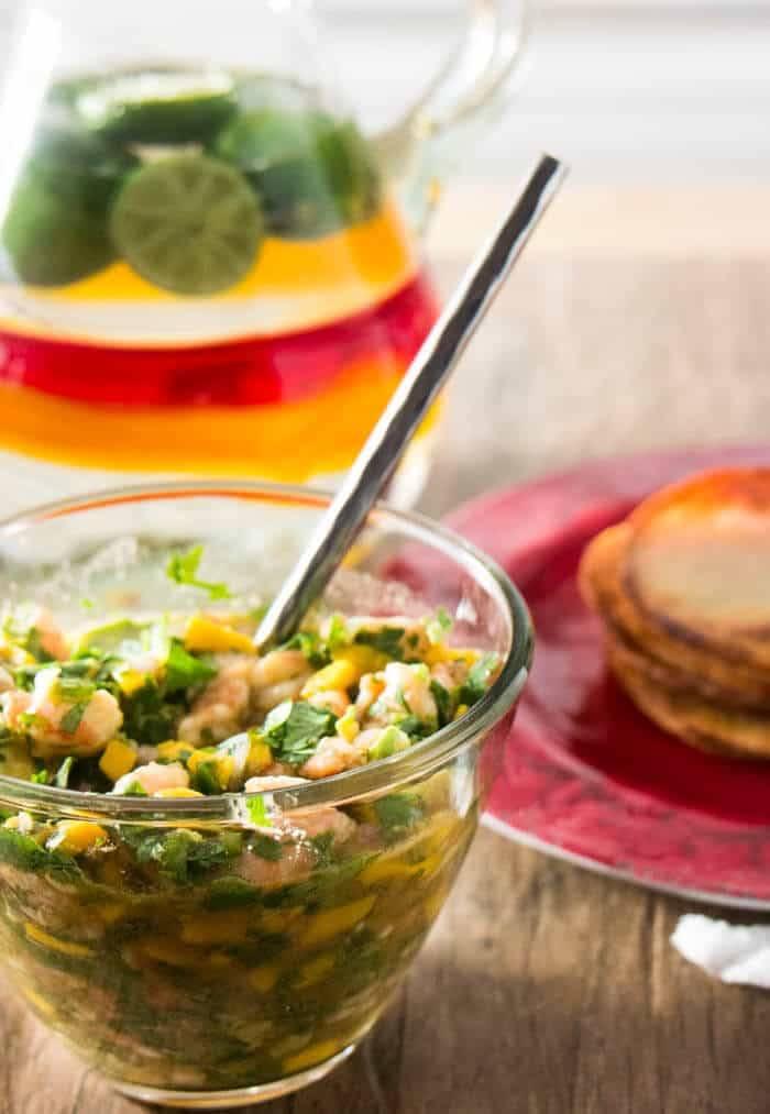 Mango, Avocado, and Gulf Shrimp Ceviche Tostadas / www.beyondmeresustenance.com