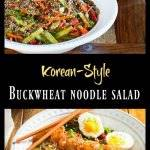 Korean-Style Buckwheat Noodle Salad - Umami, spicy, salty, sweet dressing tossed with buckwheat noodles and grilled shrimp (or tofu for a vegetarian option)... Quick and healthy!