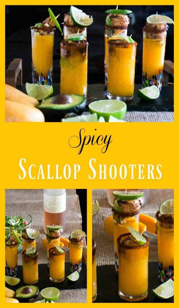 Spicy Scallop Shooter Pinterest collage.