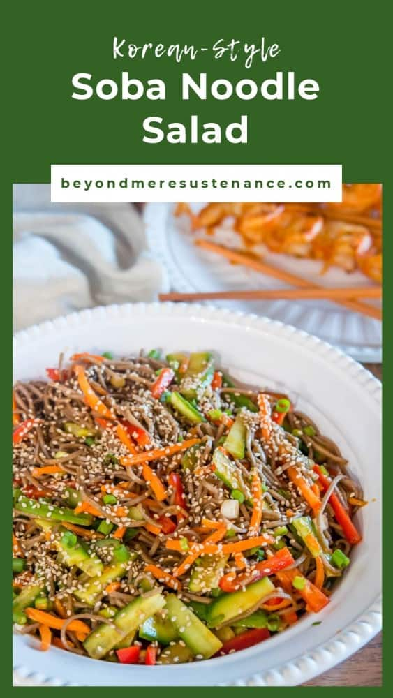 Pinterest pin of soba noodle salad on a green background.