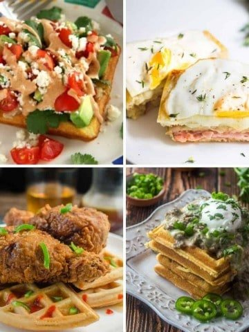 A collage of savory waffles photos.