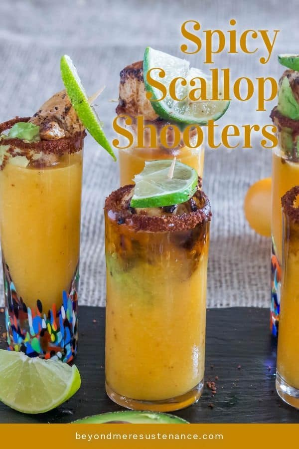 A Pinterest pin of scallop shooters on a slate tray with lime and avocado shooters.