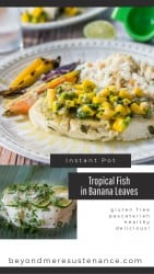 A pin collage for Tropical Instant Pot fish with mango salsa.