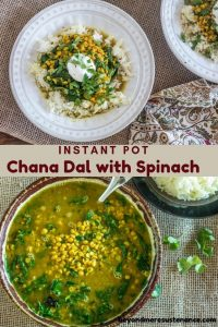 Instant Pot Chana Dal with Spinach plated and in a serving bowl.