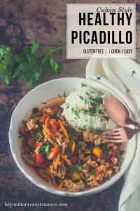 A healthy picadillo with the vibrant flavors of Cuba - garlic, onion, bell pepper, oregano, cumin, and bay - in a healthy, well-balanced dish... Healthy Picadillo (Cuban Style) can be on your dinner table in 30 minutes! #glutenfree #maindishes #groundturkey #groundbeef #groundchicken #picadillo #Cuban #recipes #lowfat #healthy