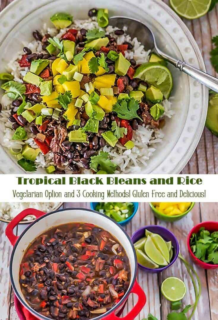 Versatile Tropical Black Beans and Rice recipe features smoky chipotle and sweet citrus. Served with rice, and topped with fresh mango, avocado, and cilantro, the sweet, spicy, and smoky flavors play so well together, and you've got a well-balanced meal in one bowl! #glutenfreemains #beansandrice #blackbeans #smokedturkey #tropicalbeansandrice #vegetarianoption
