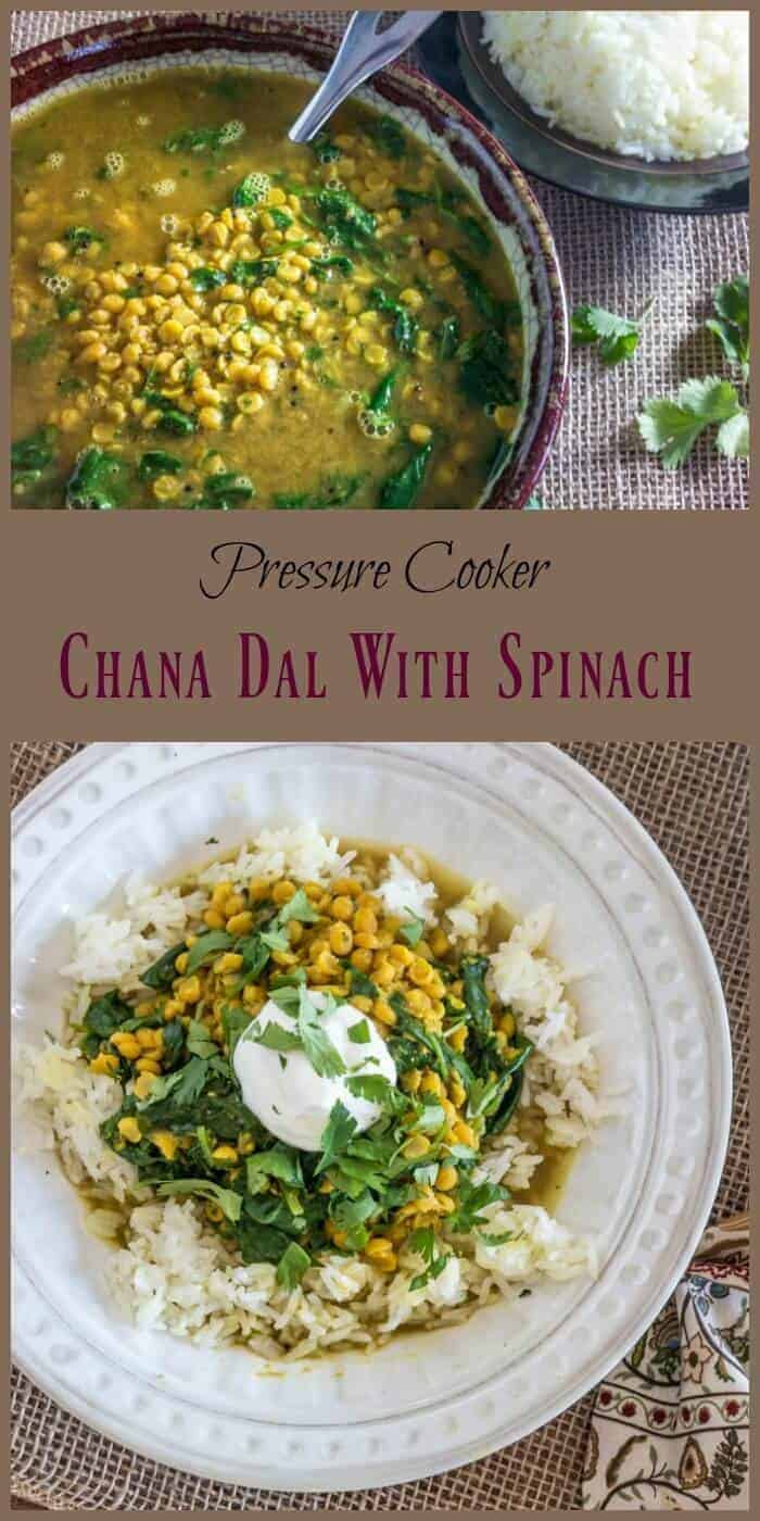 Pressure Cooker Chana Dal With Spinach - authentic India flavors in a healthy vegetarian dal made quickly in your pressure cooker!