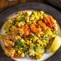 Grilled Harissa Shrimp and Moroccan Couscous Salad