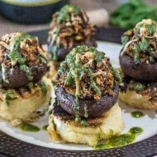 Provencal Stuffed Mushroom and Grilled Polenta