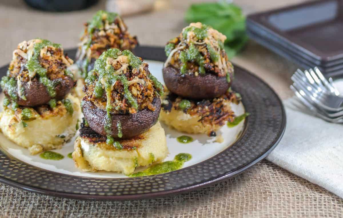 Provencal Stuffed Mushroom Topped Grilled Polenta
