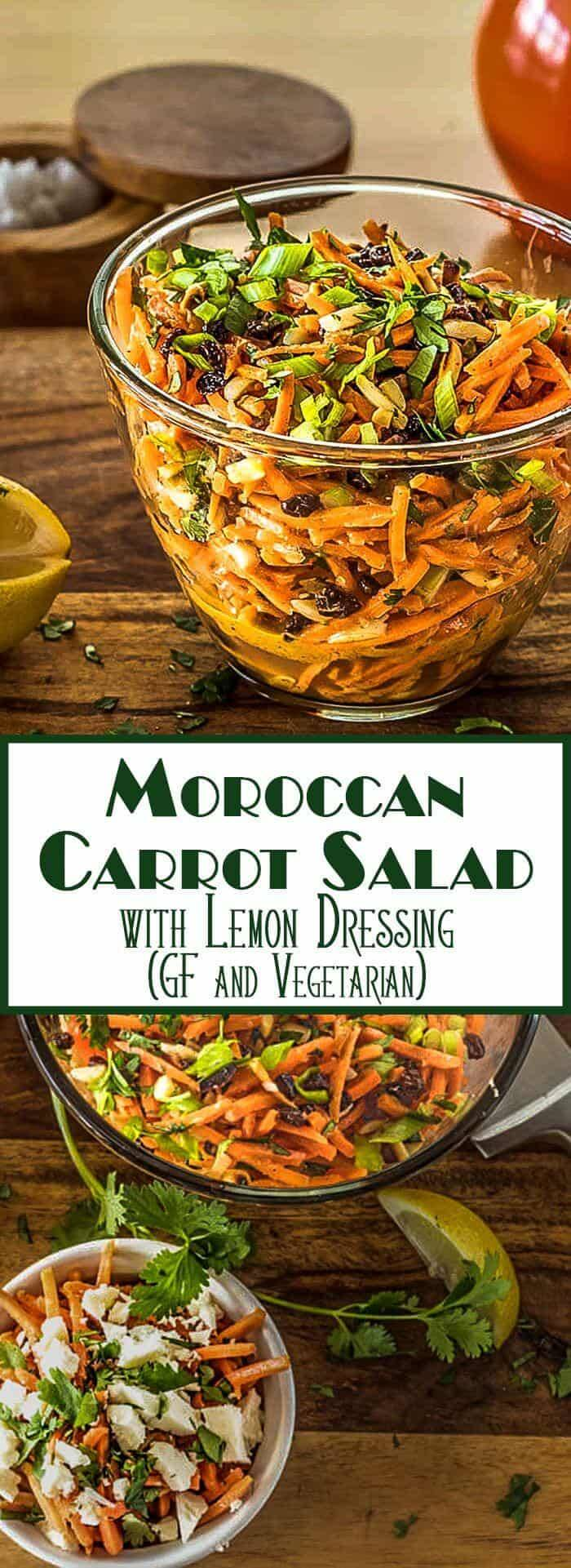 A fresh and crunchy salad of matchstick carrots, toasted almonds, and sweet currants tossed with a sweet/tart lemon and olive oil based dressing... Moroccan flavors sing in my Moroccan Carrot Salad With Lemon Dressing! This is a tasty and quick side dish with a grilled chicken breast, or a perfect light lunch topped with crumbled feta cheese. Moroccan Recipes   Moroccan Salads   Carrot Salads   Spring Salads   Gluten Free   Vegetarian