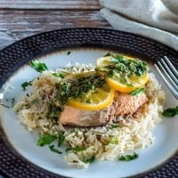 Instant Pot Salmon and Rice With Lemon Caper Chimichurri