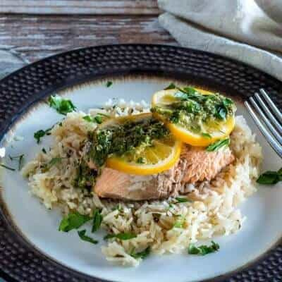 Instant Pot Salmon and Rice With Lemon Caper Chimichurri (Pressure Cooker)