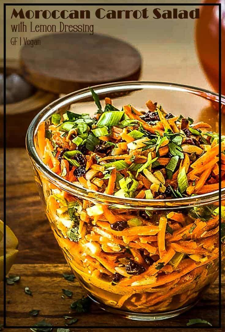 A fresh crunchy salad of matchstick carrots, toasted almonds and sweet currants tossed with a tangy, sweet lemon and olive oil based dressing... Moroccan flavors sing in my Moroccan Carrot Salad With Lemon Dressing! It's a tasty quick side dish with a grilled chicken breast, or a perfect light lunch topped with crumbled feta cheese. #Moroccan Recipes #Moroccansalads #carrotsaladrecipe #springsalads #glutenfreesalad #vegansides #vegetariansides