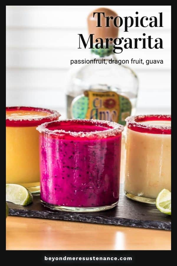 Pinterest Pin with black border and 3 margaritas.