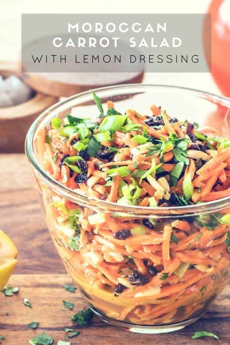 Moroccan Carrot Salad - A fresh and crunchy salad of matchstick carrots, toasted almonds, and sweet currants tossed with a sweet/tart lemon and olive oil based dressing… Moroccan flavors sing in my Moroccan Carrot Salad With Lemon Dressing! This is a tasty and quick side dish with a grilled chicken breast, or a perfect light lunch topped with crumbled feta cheese...