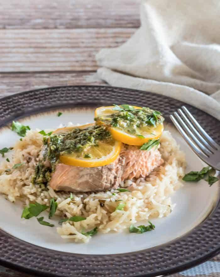 Salmon and Rice With Lemon Caper Chimichurri