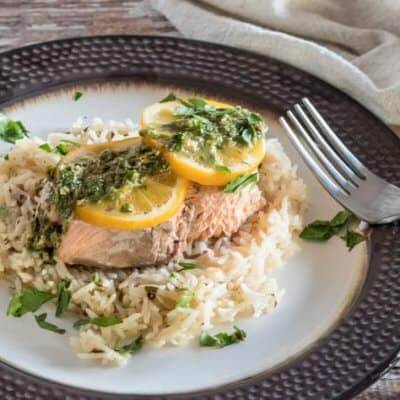 Salmon and Rice With Lemon Caper Chimichurri {Pressure Cooker Quick}