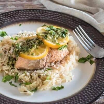 Salmon and Rice With Lemon Caper Chimichurri {Pressure Cooker Quick}