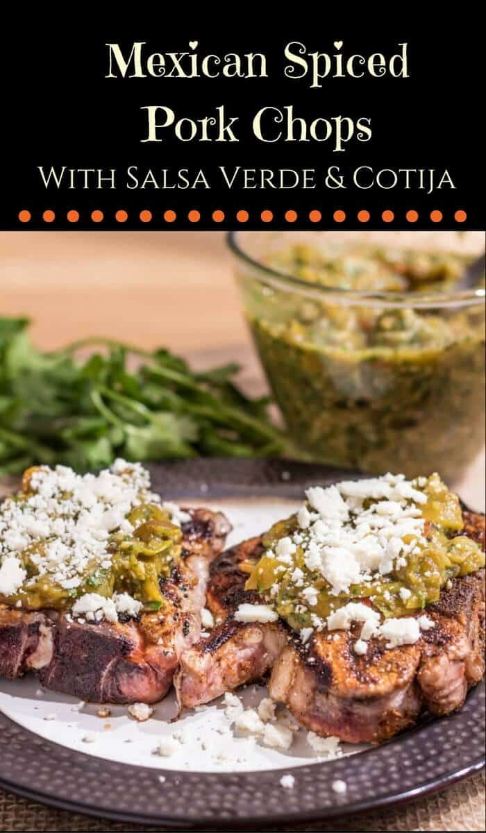 Mexican-Spiced Pork Chops With Salsa Verde and Cotija - a healthy way to enjoy bold Mexican flavors!