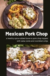 A collage pin of Mexican pork chops on a black background.