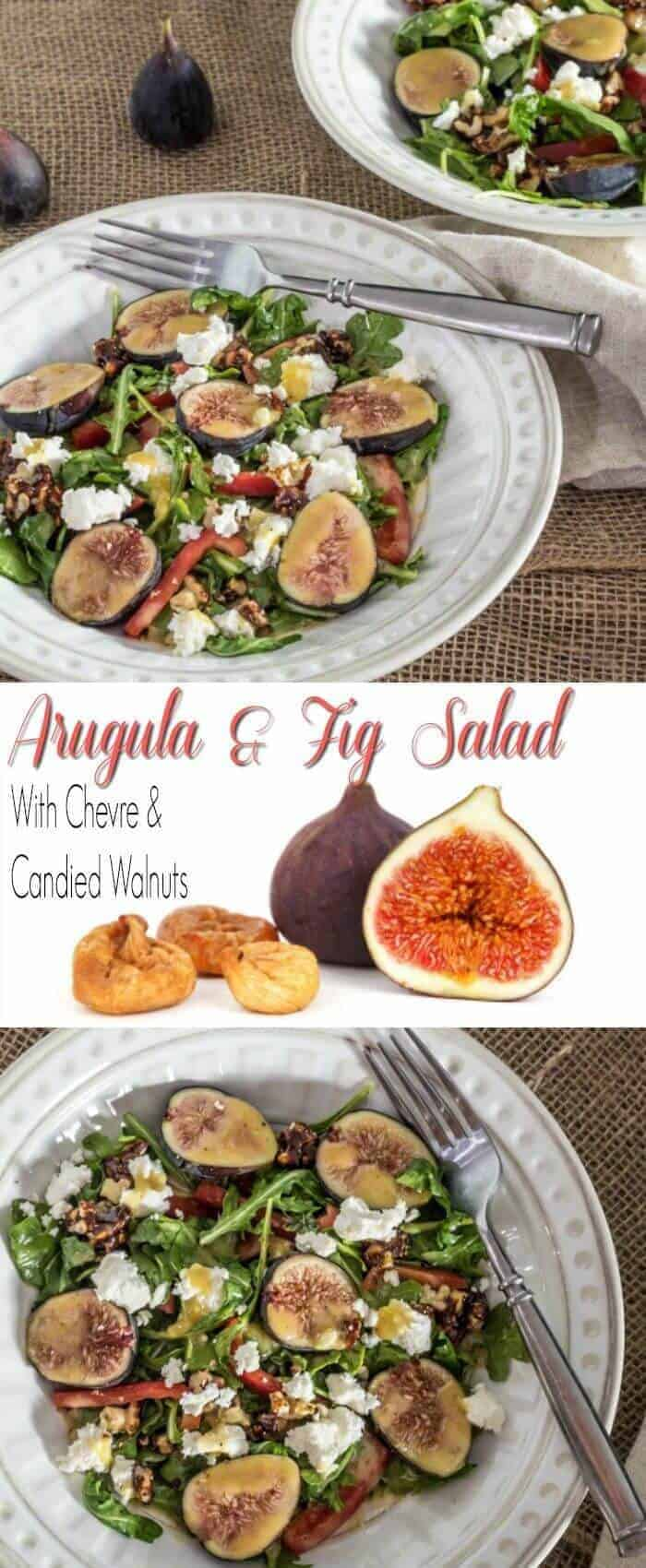 Arugula and Fig Salad With Chevre and Candied Walnuts - Seductively sweet figs, creamy chèvre, crunchy candied walnuts, and crisp red peppers are tossed with peppery arugula and dressed with a simple fig vinaigrette... Arugula and Fig Salad With Chèvre and Candied Walnuts redefines