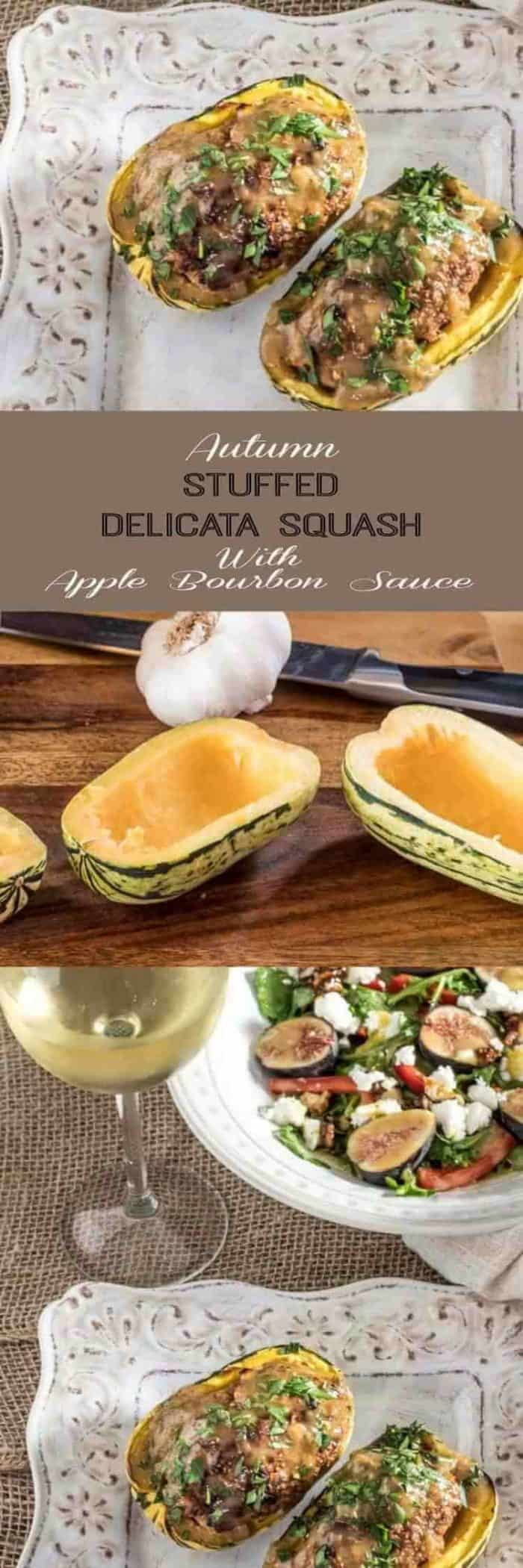 Autumn Stuffed Delicata Squash With Apple Bourbon Sauce - Tender delicata squash is roasted with a healthy ground chicken, apple, walnut, and sage mixture, then roasted and topped with an apple bourbon glaze... Delish! #delicatasquash #stuffedsquash #wintersquash