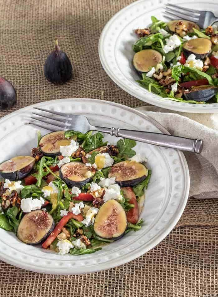 Arugula and Fig Salad With Chevre and Candied Walnuts
