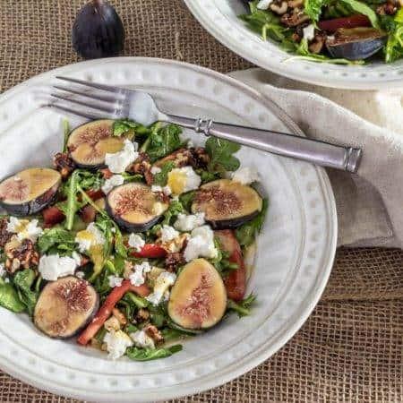 Arugula and Fig Salad With Chevre and Candied Walnuts / www.beyondmeresustenance.com