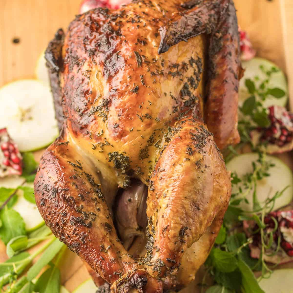 Herb and Apple Brined Roasted Turkey square feature image.